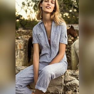 Anthropologie Cartonnier Blue Stripe Jumpsuit
